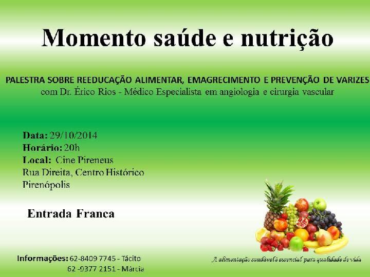 Momento saúde e nutrição